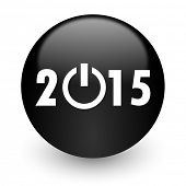 new year 2015 black glossy internet icon