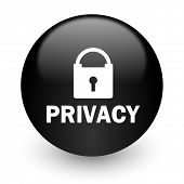 privacy black glossy internet icon