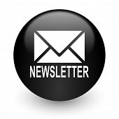 newsletter black glossy internet icon