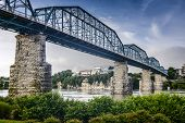 Chattanooga, Tennessee, USA at Coolidge Park and Walnut Street Pedestrian Bridge.