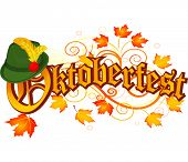 Oktoberfest celebration design with Bavarian hat and autumn leaves.