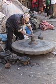 Man Who Work Handcrafted Pottery On December 2, 2013 In Bhaktapur, Kathmandu Valley, Nepal
