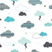 Seamless dreamy aztec clouds and geometric thunderbolt pastel illustration background pattern in vec