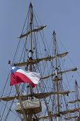 Chilean Flag Unfurls In A Ship's Mast