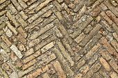 Herringbone ancient bricks texture, can be used as background