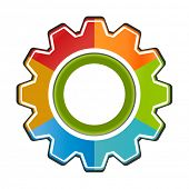 Isolated gear chart  icon six components