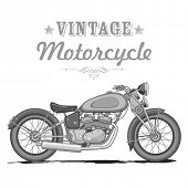 illustration of vintage motorcycle on white background