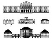 Castles, palaces and mansions vector illustration. Five black and white vector illustrations of castles, palaces and mansions