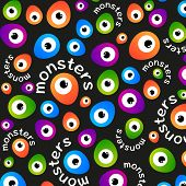 Abstract color pattern cartoon monsters eyes on a dark background. Vector template.
