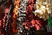 Ristras Of Dried Eggplant And Peppers  Hanging In The Bazaar  In Sanliurfa,  Turkey..