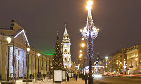 foto of prospectus  - Nevskiy prospectus avenue in electric Christmas decoration and New Year  - JPG