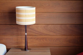 foto of lamp shade  - table lamp on bedroom interior at home - JPG