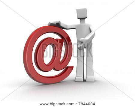 Постер, плакат: Продавец представляя электронной почты хостинг услуги концепции изоляции белый, холст на подрамнике