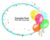 Colorful balloons frame with confetti vector