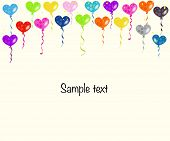 Colorful heart balloons and confetti vector background