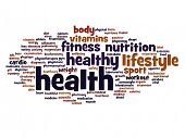 High resolution concept or conceptual abstract health word cloud or wordcloud isolated on background