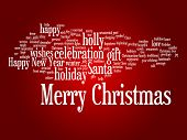 Concept or conceptual Merry Christmas holiday or Happy New Year winter abstract text word cloud on red background