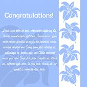 Congratulations card with floral elements.