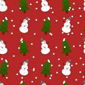 Seamless snowman and fir-trees pattern