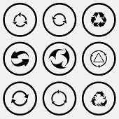 Recycle symbols set. Black and white set vector icons.