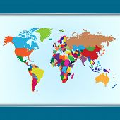 Simple Colorful World Map