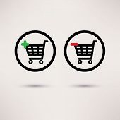 Shopping cart icons. Plus and minus signs. Vector set.
