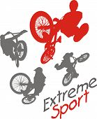 Extreme sport.  BMX rider - vector illustration.