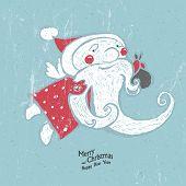 Hand-Drawn Santa on blue textured background