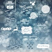 Merry Christmas And Happy New Year Elements on Blue Defocused Background. Typographic, Hand-Drawn and Textures Collection