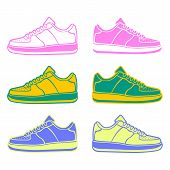 Speeding running shoe icons color variations vector logo