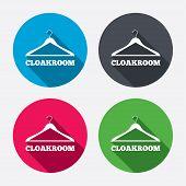 Cloakroom sign icon. Hanger wardrobe symbol.