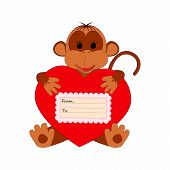 Funny monkey holding a heart on a white background