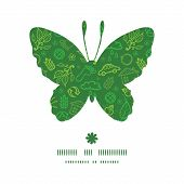 Vector ecology symbols butterfly silhouette pattern frame