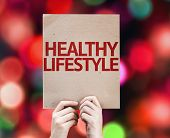 Healthy Lifestyle card with colorful background with defocused lights