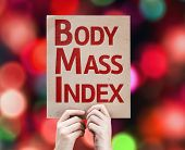 Body Mass Index card with colorful background with defocused lights