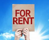 For Rent card with a beautiful day