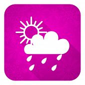 rain violet flat icon, christmas button, waether forecast sign