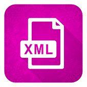 xml file violet flat icon, christmas button