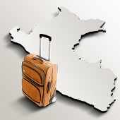 Travel To Peru. Orange Suitcase On 3D Map Of The Country