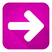 right arrow violet flat icon, christmas button, arrow sign