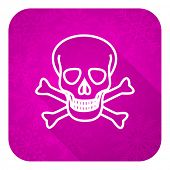skull violet flat icon, christmas button, death sign