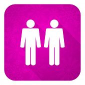 couple violet flat icon, christmas button, people sign, team symbol
