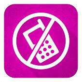 no phone violet flat icon, christmas button, no calls sign