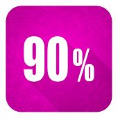 90 percent violet flat icon, christmas button, sale sign
