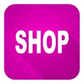 shop violet flat icon, christmas button