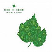 Vector ecology symbols leaf silhouette pattern frame
