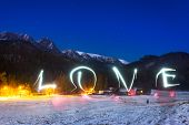 Love sign under Tatra mountains at night, Poland