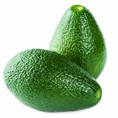 Avocados Isolated On White Background. Fresh Green Avocado Fruit Macro
