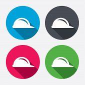 Hard hat sign icon. Construction helmet symbol.