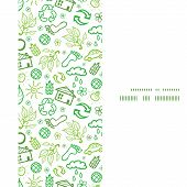 Vector ecology symbols vertical frame seamless pattern background